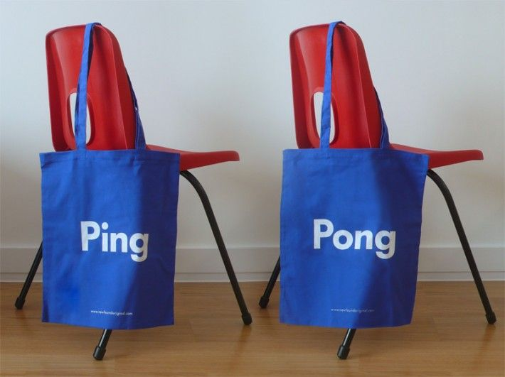 Word Play Ping Pong Tote Bag Blue 2 Sided Design Which Reads On One Side And The Other Screen Printed In White Onto Avai