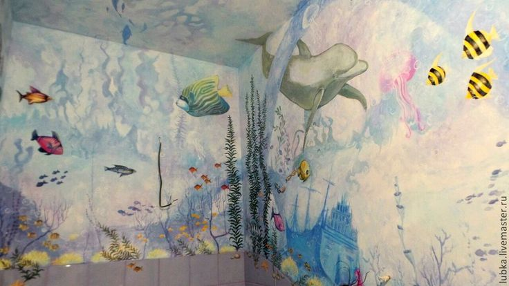 Underwater themed hand painted mural for a child's bathroom.  #kidbathroommural