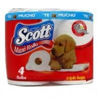 Papel higiénico Scott Maxi rollo, triple hoja x 4 Und