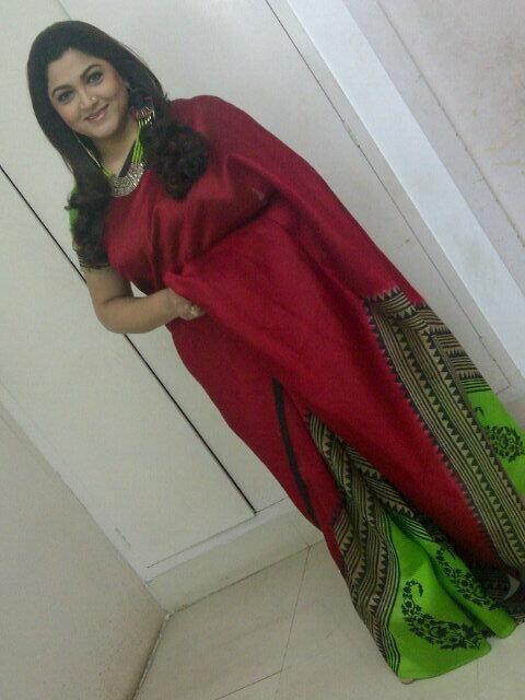 South Actress Kushboo wearing Maroon Tussar Silk Saree