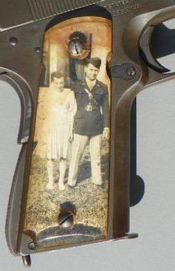 During WWII, soldiers were known to take precious family photos (and Pinup Girl photos) and put them under clear grips on their 1911 pistols - called Sweetheart Grips. source