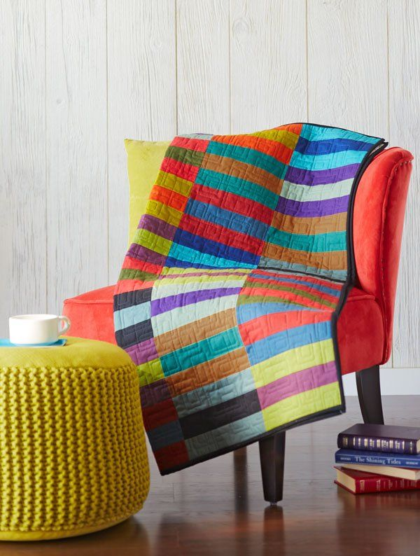 Bands of bold color make a dramatic statement in this throw.