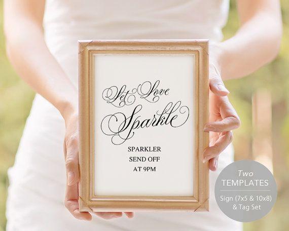 Sparkler Send Off Sign, PDF Template, Sparkler Sign, Let Love Shine Sign, Sparkler Send Off, Wedding Sparkler Tags, Instant Download, ideas
