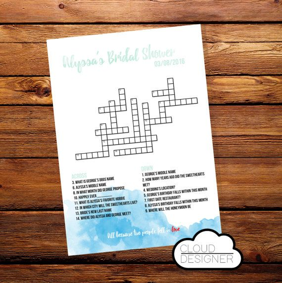 Custom Printable Bridal Shower Crossword Puzzle // Welcome Bag // Wedding