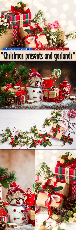 Рождественские декоративные подарки и гирлянды