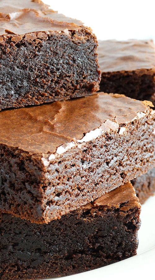 Grandma's Old-Fashioned Rich Fudge Brownies ~ Fudgy, rich and chewy with an incredibly moist interior and a shiny, crackly, flaky top - everything a classic brownie should be! This family recipe dates back to the World War II era! | bar chocolate dessert recipe