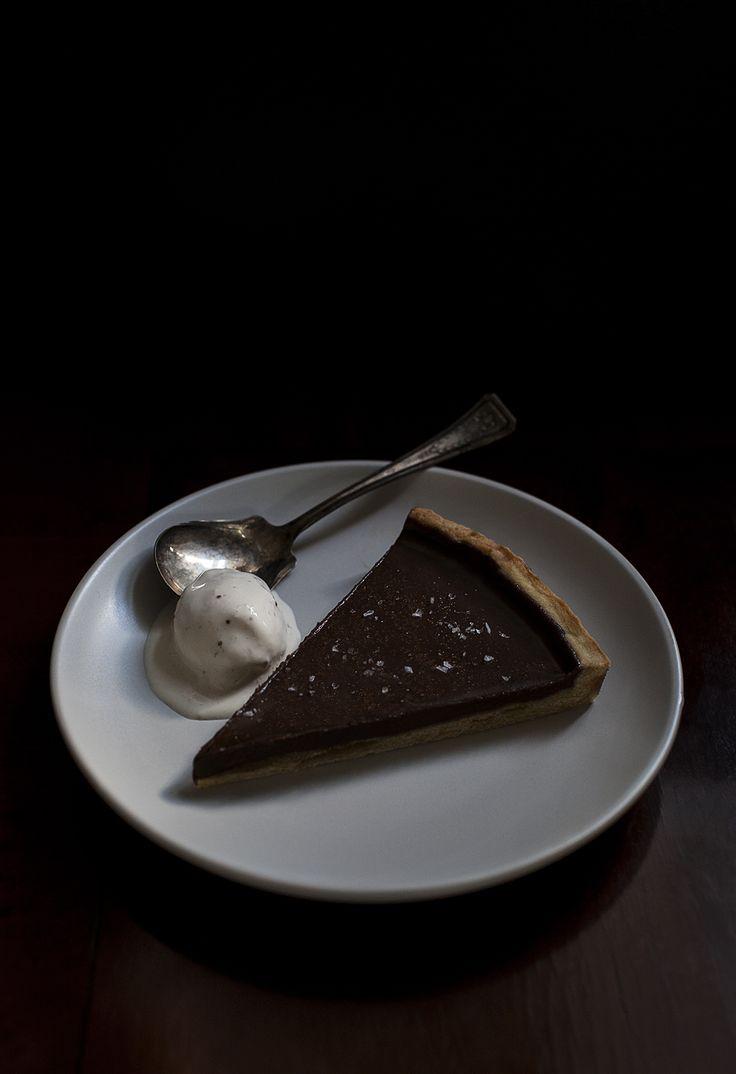 Dark chocolate amaretto tart with fig ice cream.