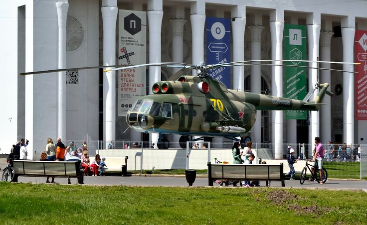 Moscow. VDNKh. A Mil Mi-8T transport helicopter exhibited before the pavilion Transport of the USSR. #helicopter #militaryaviation #vdnkh