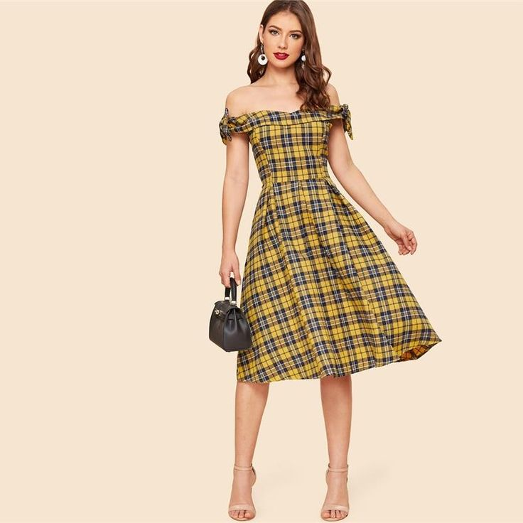 Vintage Bow Detail Plaid Foldover Bardot Off The Shoulder Fit and Flare A-Line Women Dresses