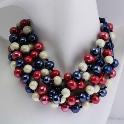 Nautical ceramic beads  necklace.