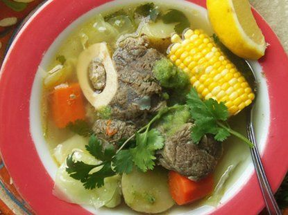 Caldo de Res. I will be making this on Saturday! Mmmmmmmm but no corn.