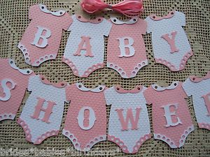 Details about 10 Bunting Flags Banners Garland BABY SHOWER Pink White Girl DIY B3