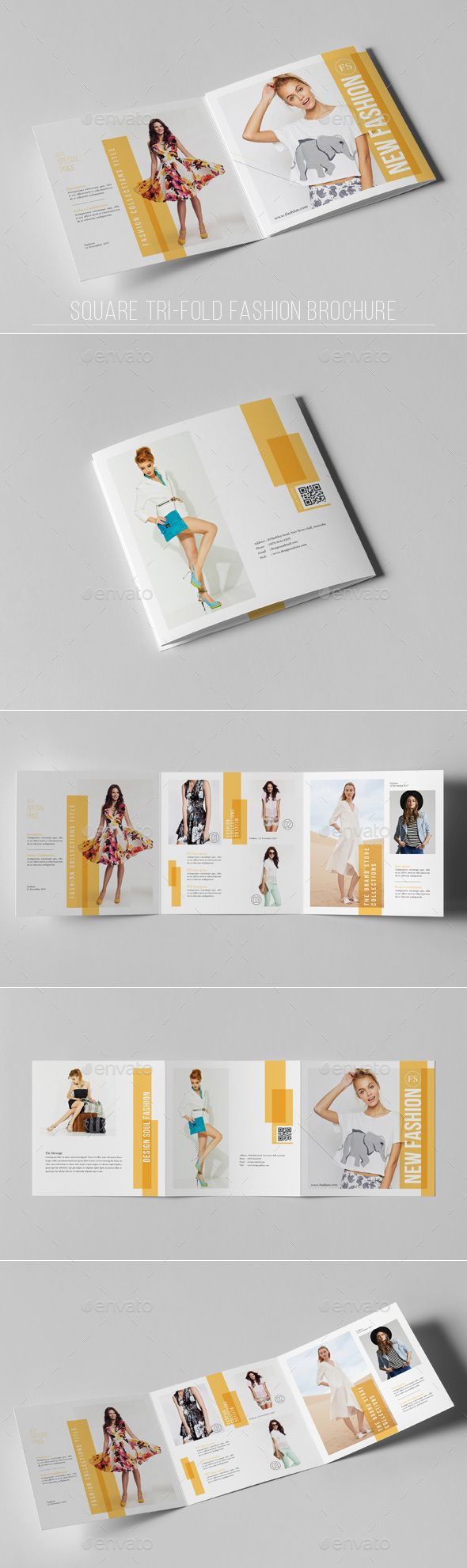 Square TriFold Fashion Brochure — Photoshop PSD #fresh design #clean square brochure • Download ➝ https://graphicriver.net/item/square-trifold-fashion-brochure/19291857?ref=pxcr
