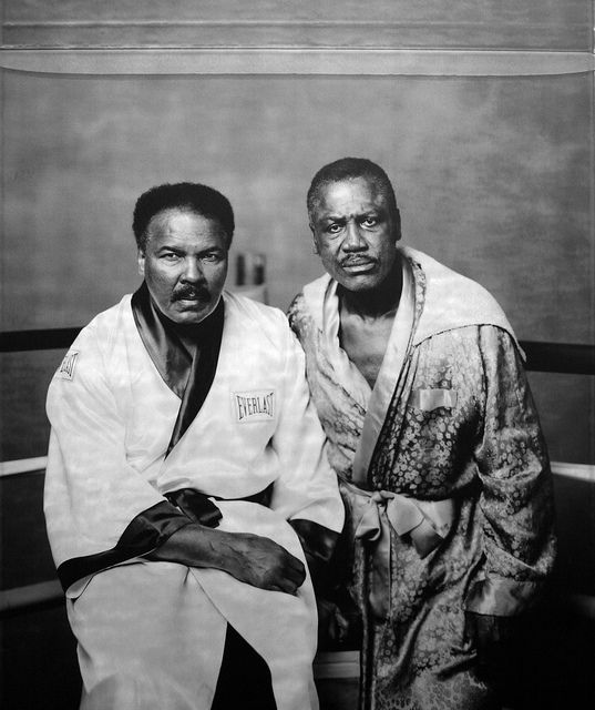 Muhammad Ali and Joe Frazier. What a moment.
