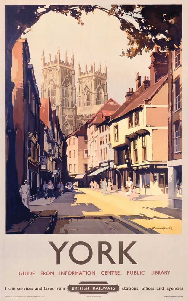 York Minster Yorkshire Vintage Retro Railway Holiday Travel Poster Art Print