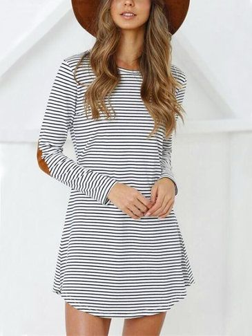This mini dress is a relaxed mini dress, round neck, stripe pattern, long sleeves and mini length. Perfect for dress out with high heels or sports shoes.