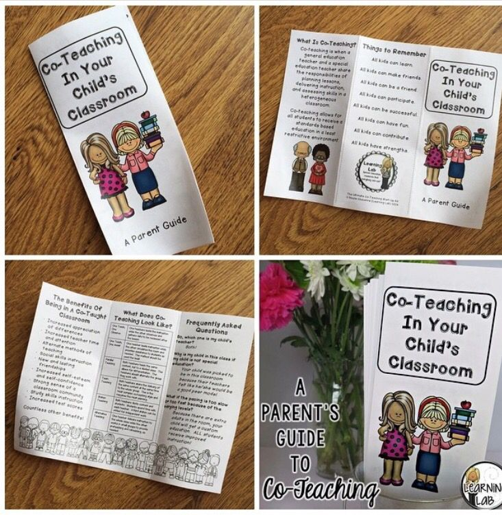 Co-teaching guide for parents. Included in the Ultimate Co-Teaching Start-Up Kit for special education teachers and general education teachers in an inclusion classroom.