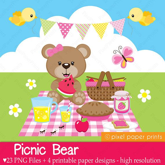 Picnic Bear - Digital - Clipart and Digital Paper Set - Bear clip art