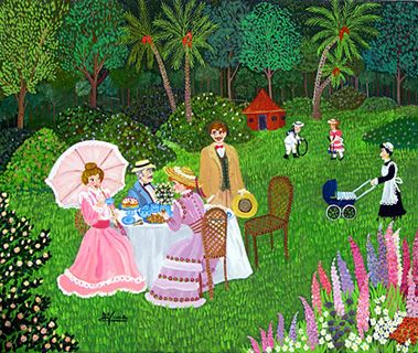 Teatime in the Garden by Maria Julia Fraile