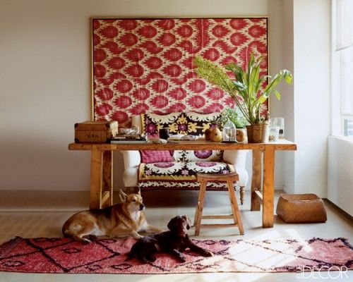 love ikat tapestry + wool rug as couch cover + runner + (pooches!)