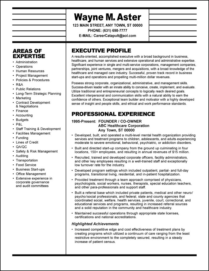 healthcare resume   resume writer for executives com executive resumes with a high roi by ...