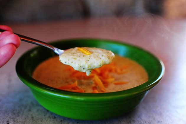 Pioneer Woman broccoli cheese soup  - I loved this! KS thought he would have liked it better before the blender. -