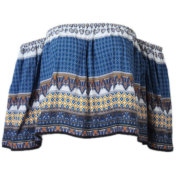 Women Ethnic Printed Off Sholder Blouse Sexy Blouse Short Tops (£9.58) ❤ liked on Polyvore featuring tops, blouses, shirts, blue, blue blouse, blue shirt, short-sleeve blouse, summer blouses and blue collared shirt