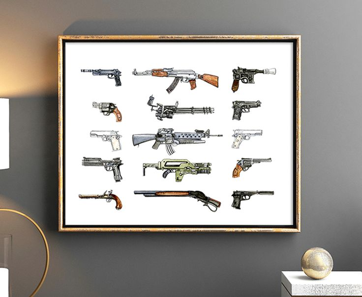 This Iconic Gun print is a perfect gift for gun and movie lovers! These famous movie guns are in order from left to right, top to bottom:   Léon - The Professional Rambo Han Solo - Star Wars Michael Corleone - The Godfather Blain - Predator John McClane - Die Hard Jules Winnfield - Pulp Fiction Tony Montana - Scarface Vincent Vega - Pulp Fiction RoboCop Ellen Ripley - Alien Harry Callahan - Dirty Harry Jack Sparrow - Pirates of the Caribbean -Terminator - James Bond