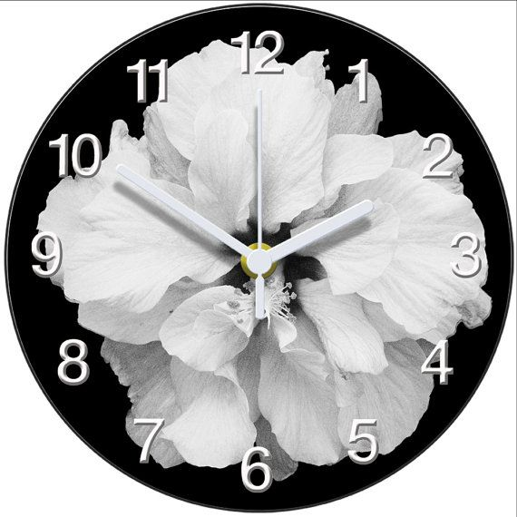 Black and White Hibiscus Clock by AtticLightHome on Etsy