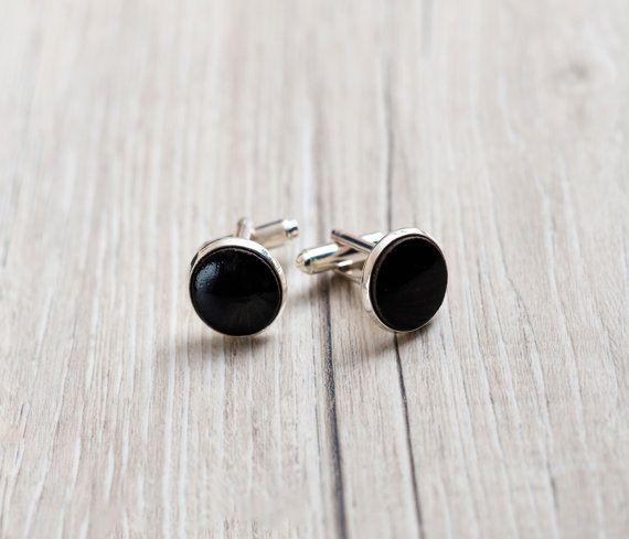 Black cufflinks silver cufflinks Ceramic cufflinks 15mm cufflinks handmade accessory for men Elegant everyday cuff links Zu Design Jewelry