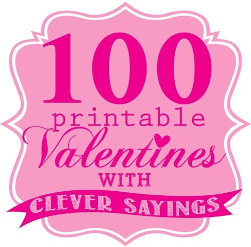 Amazing round-up of 100 of the cutest printable Valentines with clever sayings. Just print and pair with the suggested treat and you have a great #valentine #classroomvalentines #valentinesday #valentinesdayideas  www.skiptomylou.org