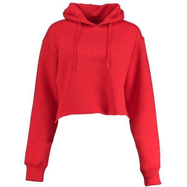 Boohoo Cameron Marl Brush Cropped Hoody | Boohoo (68 BRL) ❤ liked on Polyvore featuring tops, hoodies, red hoodie, basic t shirt, hooded sweatshirt, red hoodies and ribbed crop top
