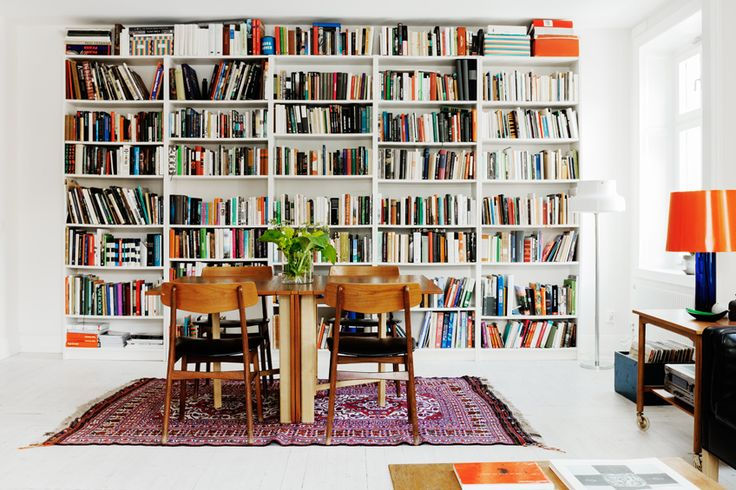 by Fantastic Frank // Stockholm: Dining Rooms, Bookshelves, Home Libraries, Books Shelves, Fantastic Frank, Dreams Apartment, House, Oriental Rugs, Books Storage