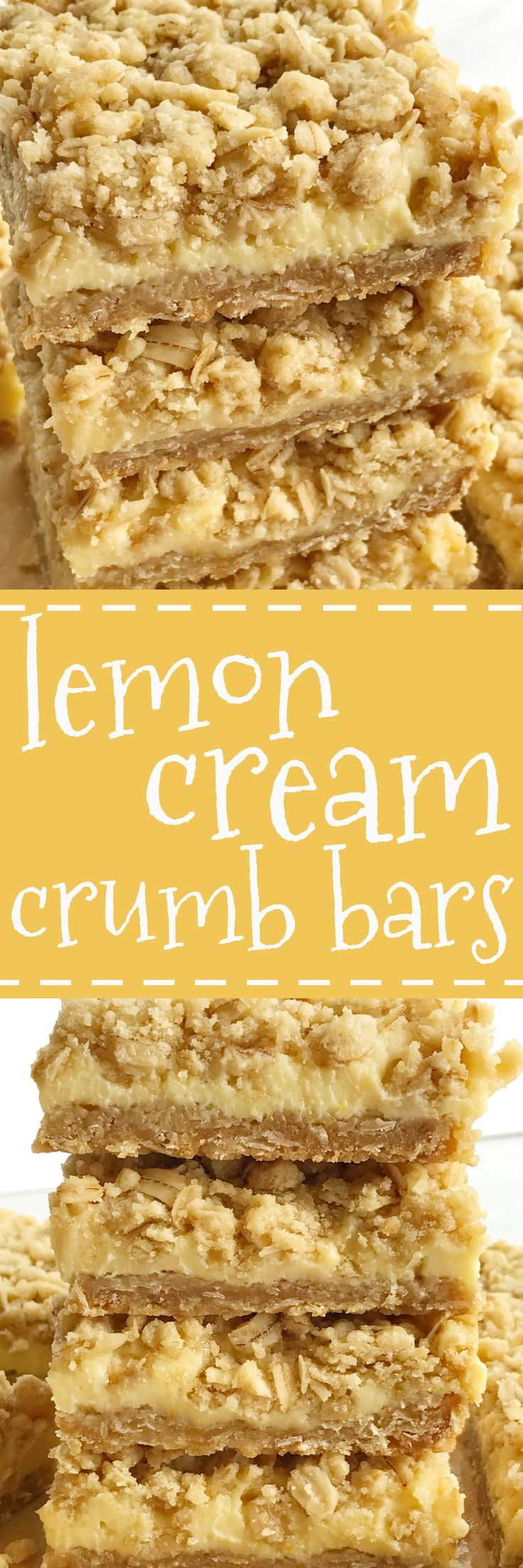 Creamy, tart, silky smooth lemon cream with a thick layer of a sweet oatmeal crust, and a good sprinkle of crumble on top. This is for all the lemon lovers out there. These lemon cream crumb bars are perfectly tart, sweet, and crumbly.