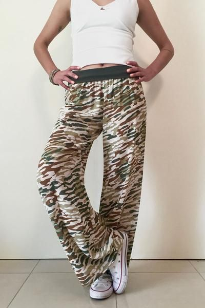 conDiva Army-Print Wide-leg Pants | Tango Pants on Sale  #womens #tangopants #dance #casual #argentinetango