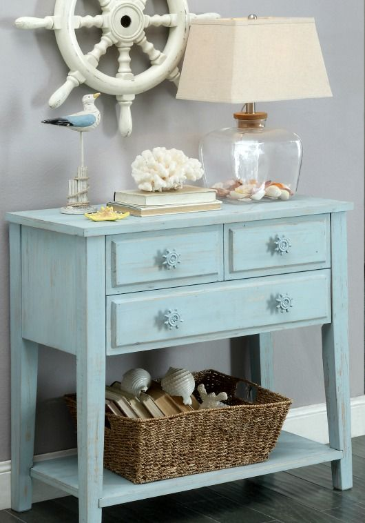 Nautical Console Table with cute ship wheel knobs... http://www.completely-coastal.com/2017/04/coastal-console-tables.html