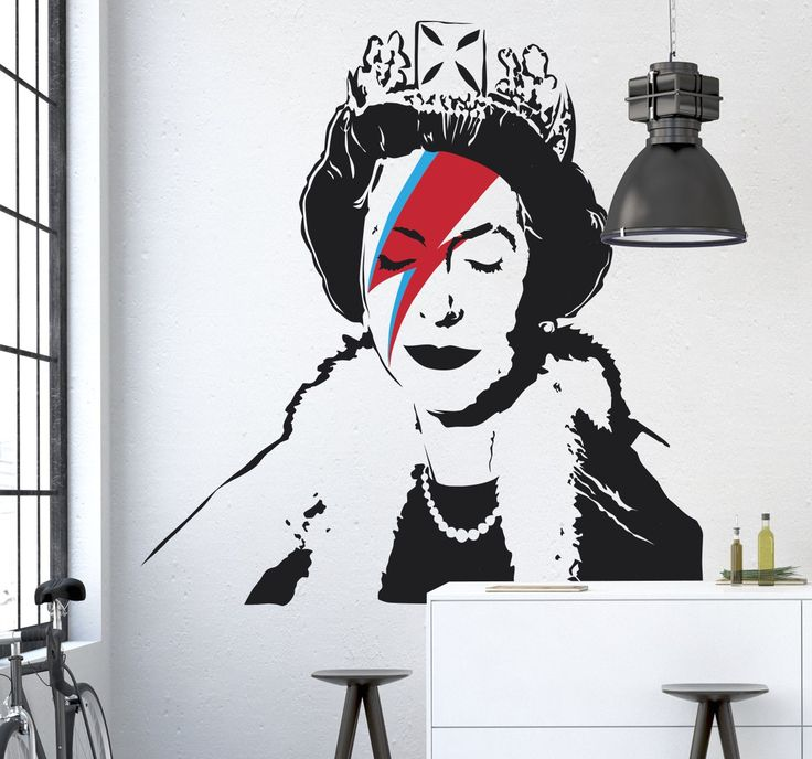 A fun and artistic sticker of Queen Elizabeth with the famous Ziggy Stardust lightening strike across her face. Wall decal with a design by famous graffiti artist Banksy, that features on the streets of Bristol as a tribute for the Queen's Diamond Jubilee. Decorate your walls in a cool and imaginative way with this silhouette wall sticker. #Queen #Banksy #Graffiti