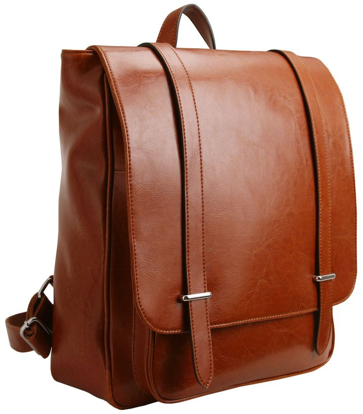 "Iswee Leather Backpack Vintage School Bag Daypack 14"" Laptop College Book Bag for Girls and Boys (Brown)"
