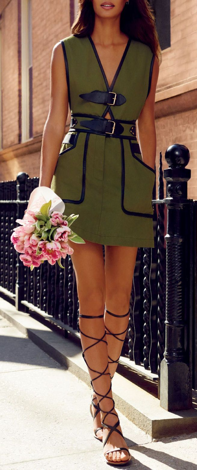 Olive & Lace Up Sandals // #street #fashion
