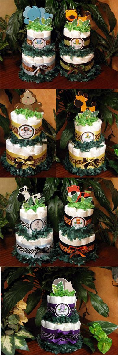Jungle Safari Baby Shower Diaper Cake Centerpieces, totally hope i can throw one of these parties or I get one lol
