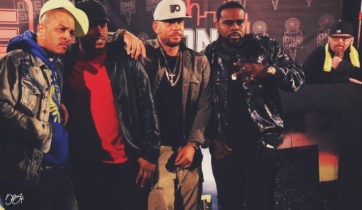 Jonathan Hay photobombs T.I., Sway Calloway, DJ Drama and Kxng Crooked.