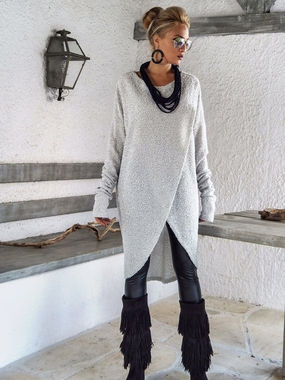 Off White Warm Wool Boocle Knitted Asymmetric Blouse Tunic / Asymmetric Blouse / Oversize Loose Blouse / #35153