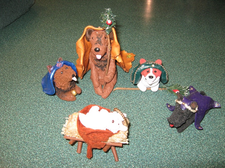 Dogs Nativity scene by Barb.  Made with Sculpy.