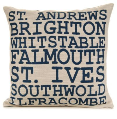 This beautiful cushion features some of Britain's beaches and coastal towns. Where have you been? #BalticSummer #Seaside