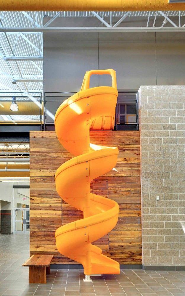 fun yellow slide {gloria marshall elementary school} elementary school interior #education