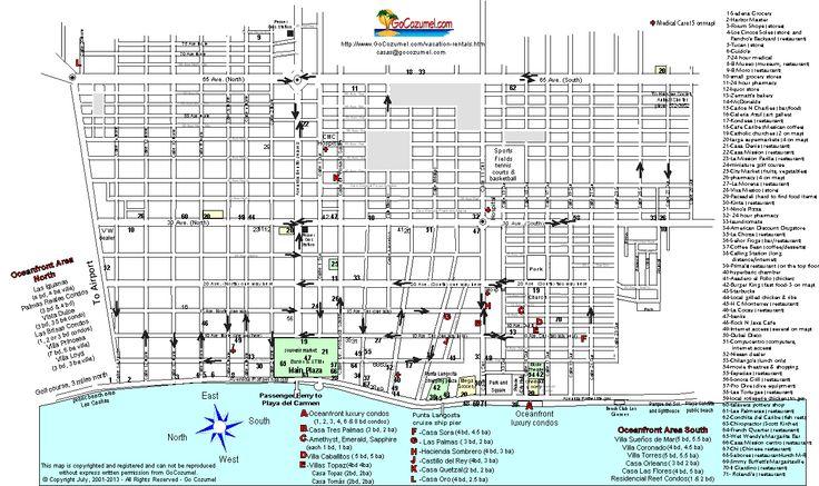 Cozumel street map-Cozumel Mexico
