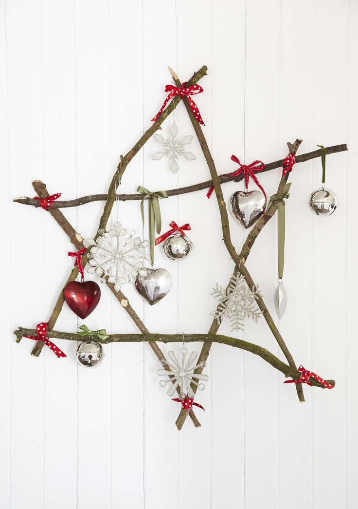 Nickel Christmas decorations on our home made twig star - natural and rustic