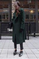 2017 Звезда стиля длинные кашемировые пальто полушерстяные пальто плюс размер женщин элегантный отложным воротником шерсть траншеи пальто длинное пальто