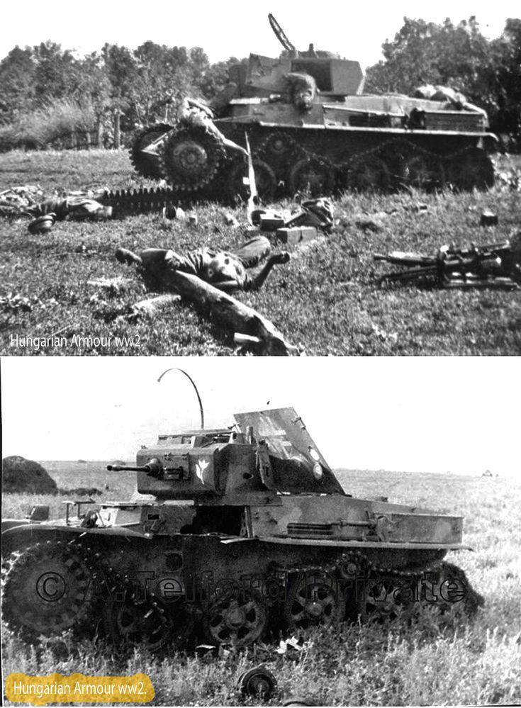 Kilőtt magyar Toldik a Don menti harcokban 1942. nyarán. A legénység hősi halált halt. Knocked out hungarian Toldi light panzers at Don regio. 1942. summer.