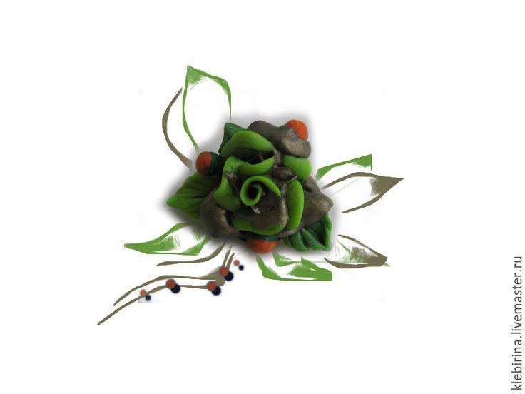 Купить Маленькая брошь - Экзотическая роза - ярко-зелёный, оранжевый, желто-зеленый, золотой, бронзовый